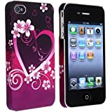 Snap-on Rubber Coated Case compatible with Apple iPhone 4 / 4S, Dark Purple Heart with Flower Rear