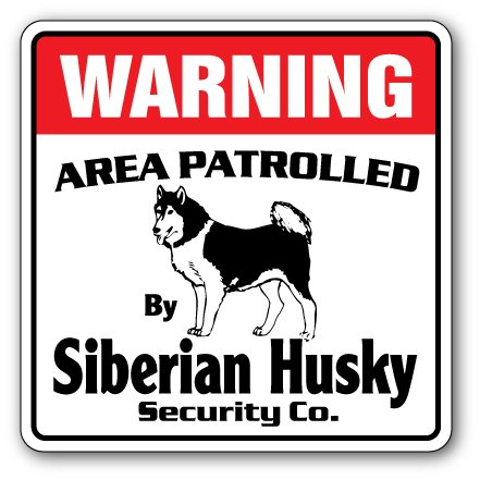 """SignMission Siberian Husky Security Decal Area Patrolled Guard Breeder Walker Walk Dog pet, 10"""" X 10"""" Decal, 10"""" X 10"""" Decal"""