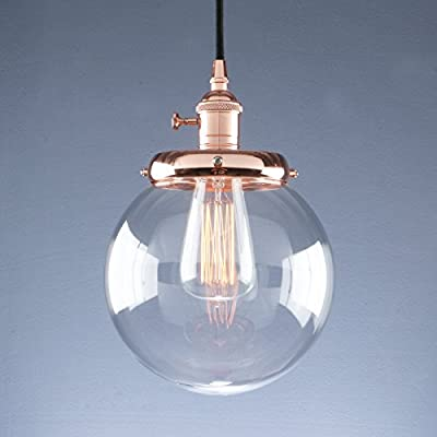 Phansthy Vintage Industrial Pendant Light Retro Warehouse Light Fixture E26 Globe Clear Glass Shade Hanging Light Lamp for Loft Kitchen Coffee Bar