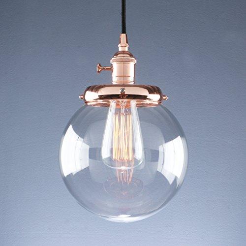 (Phansthy Vintage Industrial Pendant Light Retro Warehouse Light Fixture E26 Globe Clear Glass Shade Hanging Light Lamp for Loft Kitchen Coffee Bar)