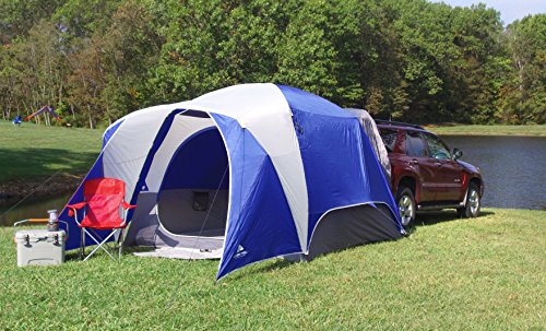 - Spacious and Durable Ozark Trail 5-Person SUV Tent,With Media and Multiple Storage Pockets,Attached Mud Mat,Roll-Back Rainfly,Perfect for Camping,Backpacking,Family Outings,Group Events,Picnics