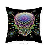 VROSELV Custom Cotton Linen Pillowcase Psychedelic Digital Mexican Sugar Skull Festive Ceremony Halloween with Ornate Effects Design for Bedroom Living Room Dorm Multi 22''x22''