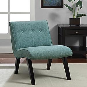 Metro Shop Aqua Armless Tufted Back Chair