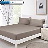 CoolmaX & Cotton Cooling Fitted Sheet w/Pillowcase Breathable Stay Cool for Maximum Comfort