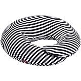 ハナロロ【ドーナツクッション】(ネイビーボーダー) 日本製 抱きまくら 授乳クッション 補充できるビーズクッション