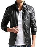 ZSHOW Men's PU Faux Leather Moto Jacket Casual Wear(Black,Small)