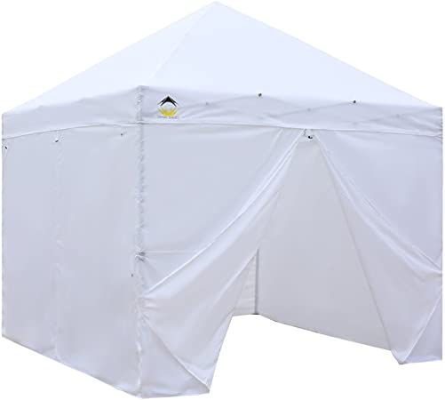 CROWN SHADES Patented 10ft x 10ft Instant Commercial Canopy with 4 Removable Zipper End Sidewalls and Plus Wheeled Storage Bag, White