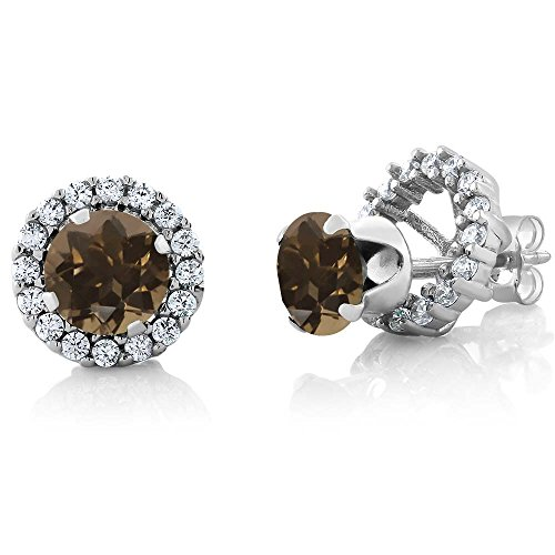 1.60 Ct Round 6mm Brown Smoky Quartz 925 Silver Removable Jacket Stud Earrings