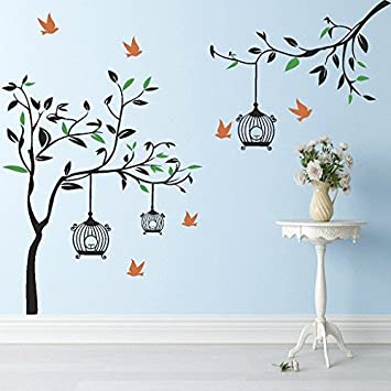 DeStudio U0027Black Tree With Cage And Birdu0027 Wall Sticker (PVC Vinyl, 155 Part 61