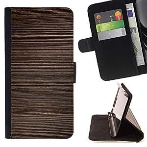 Momo Phone Case / Flip Funda de Cuero Case Cover - Textura Horizontal Líneas de Brown - Samsung Galaxy J3 GSM-J300