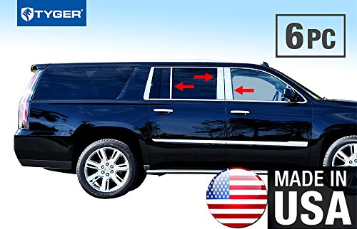 Tyger Auto Made in USA! Works with 2015-2018 Cadillac Escalade Longer ESV Stainless Steel Chrome Pillar Post Trim 6PC