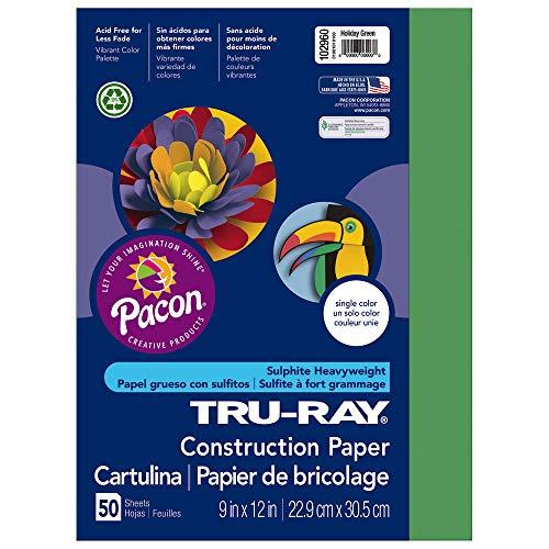 (Tru-Ray Heavyweight Construction Paper, Holiday Green,  9