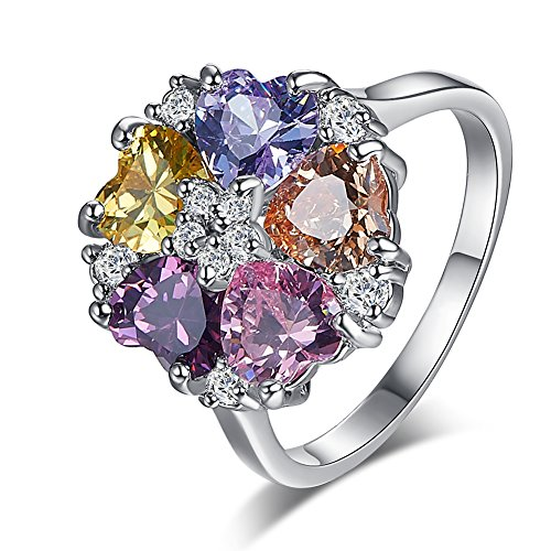 Psiroy Women's 925 Sterling Silver Love Heart Cluster Flower Shaped Multi Gemstone Engagement Filled Ring Band (Multi Color Gemstone Heart)