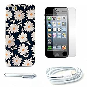 GJY Beautiful Daisy Pattern Hard Case and Screen Protector and Stylus and Cable for iPhone 5/5S