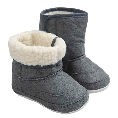 Voberry Baby Toddler Girls Boys Winter Outdoor Warm Snow Boots Soft Crib Shoes (12~18 Month, Gray)