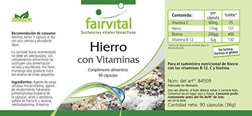 Hierro suplemento con Vitamina C - biotina y B12 - paquete ...
