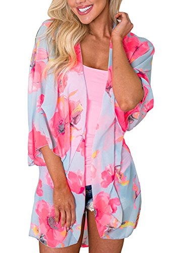 Chunoy Women Floral Kimono Loose Half Sleeve Shawl Chiffon Casual Cardigan Blue Pink Large
