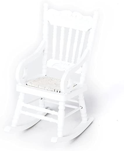 Miniature Wooden Rocking Chair Furniture Model for 1//12 Scale Dollhouse White
