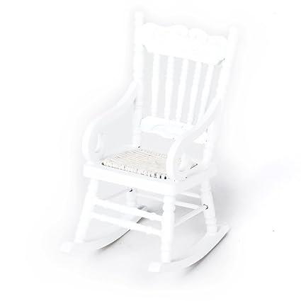 ROSENICE Dollhouse Furniture Wooden Rocking Chair 1:12 Miniature (White)
