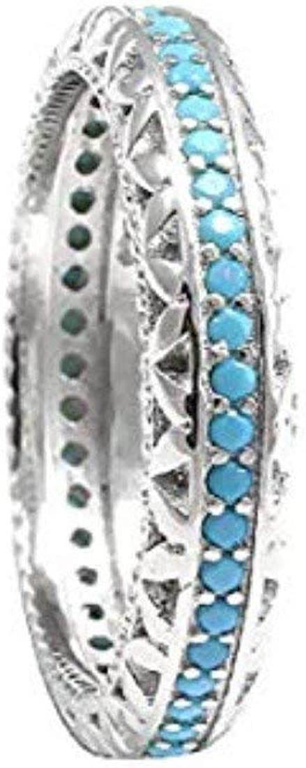 Blue Apple Co. 4mm Full Eternity Stackable Wedding Band Ring Round Simulated Nano Turquoise 925 Sterling Silver