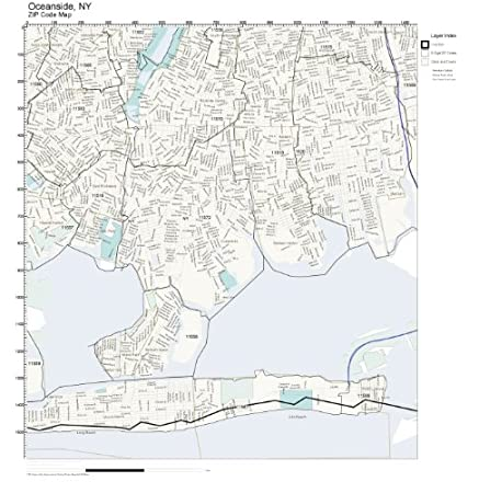 Amazon Com Zip Code Wall Map Of Oceanside Ny Zip Code Map Not