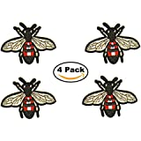 EST Mundum Motorcycle Backpack Patches Designer Snake | Bee | Tiger | Rose | Multi-Pack Kit | Embroidered Iron On Patch for Jackets | (Bee Multi Pack)