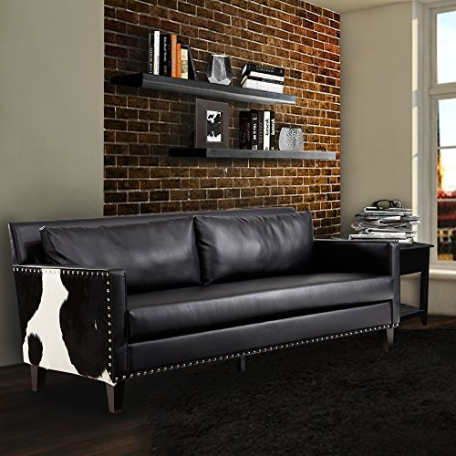 ARMEN LIVING Dallas Sofa, Black Leather/Real Cowhide Side (Natural Stationary Sofa)