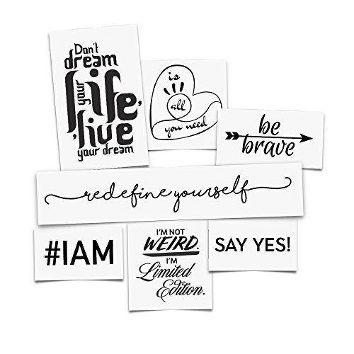 Tattoo Moments Collection of Temporary Tattoos - Inspiring Quotes Pack (Set of 14 Motivating Tattoos) - Uplifting, Fashionable, Skin Safe and Waterproof - Perfect for Arm, Chest, Back or Legs