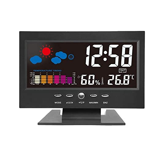 Amazon.com: Love lamp Weather Station Alarm Clock Hygrometer Termometro Digital Barometer Colorful Thermometer Calendar Clock Desk LCD Display: Home & ...