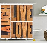 Ambesonne Live Laugh Love Decor Shower Curtain, Macro Calligraphy Life Message Inspirational Digital Graphic, Fabric Bathroom Decor Set with Hooks, 70 Inches, Light Caramel Umber