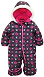 Pink Platinum Baby Girls One Piece Warm Winter Puffer Snowsuit Pram Bunting, Charcoal, 12 Months