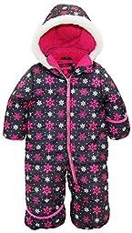 Pink Platinum Baby Girls One Piece Warm Winter Puffer Snowsuit Pram Bunting, Pink Snowflakes, 18 Months