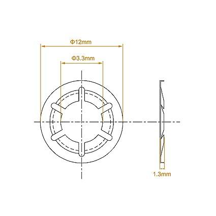 sourcing map Ojales de lat/ón con arandela 12 mm di/ámetro de brida de 19mm altura de 4mm Negro 500 Piezas