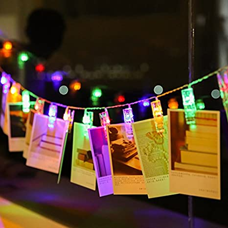 Cards and Artwork Multicolor Magnoloran LED Photo String Lights 20 Photo Clips Battery Powered Fairy Twinkle Lights Wedding Party Home Decor Lights for Hanging Photos