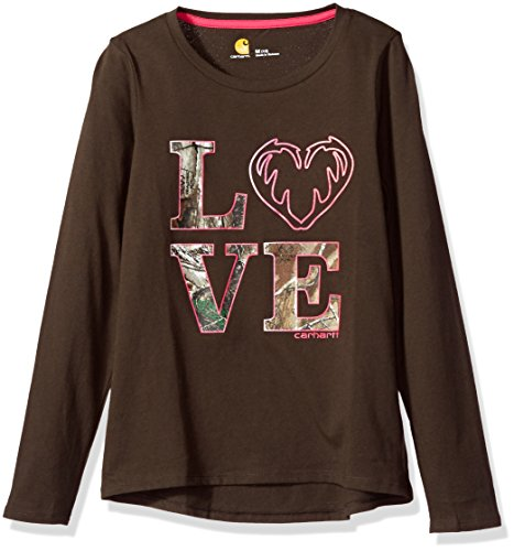 Carhartt Big Girls' Long Sleeve Tee Shirt, Love Dark Brown, L-12 (Brown Big Kids Apparel)