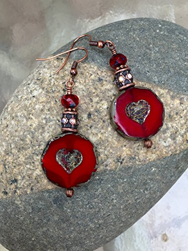 - Red Picasso Czech Glass Earrings, Large Red Coin Bead Earrings, Picasso Silvery Heart Motif, Red Picasso Glass Earrings, Holiday Red Earrings