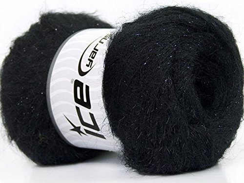 Lot of 6 Skeins Ice Yarns KID MOHAIR PEARL (50% Kid Mohair) Yarn Black - Kid Mohair Knitting Yarn
