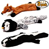 #1: CNMGBB Crinkle Dog Toy No Stuffing, Durable Stuffingless Plush Squeaky Animal Dog Chew Toy Set with Fox Skunk and Penguin for Small Medium and Large Dogs Pets, 18inch,3 Pack