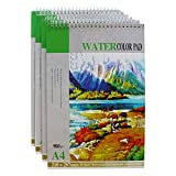 4 Pack Watercolour Pad/Watercolor Pad/Watercolour Artist Pads by Kurtzy - 8.3?x12' / 160gsm (Total 94 White Sheets) Painting & Drawing Paper Sketchbooks Perfect for Wet, Dry & Mixed Media