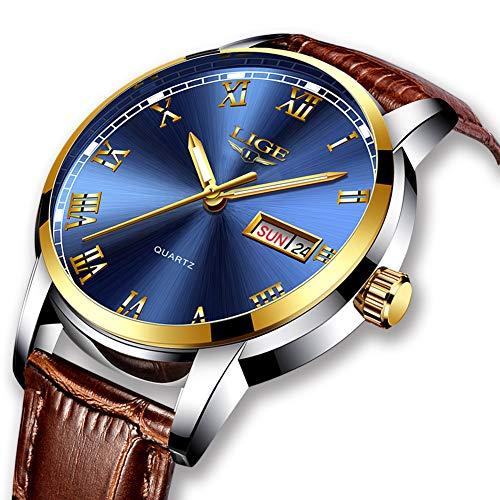 LIGE Mens Watch Classic Luxury Business Watches Waterproof Sports Analog Quartz Watch Men Fashion Casual Gents Auto Calendar Dress Wristwatch