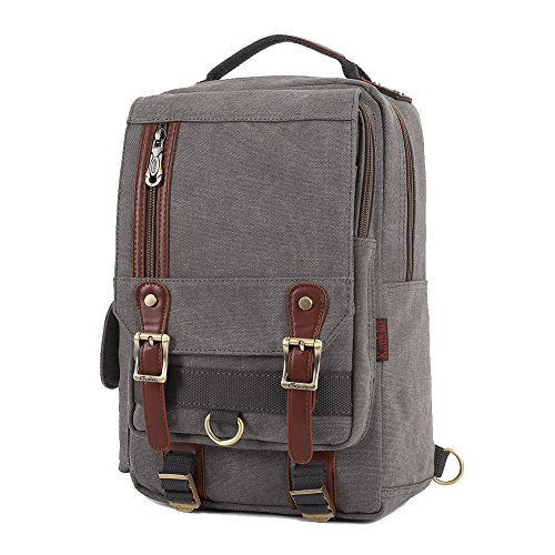 40c52dce11cf6 KAUKKO Canvas Messenger Bag Cross Body Shoulder Sling Backpack Travel  Hiking Chest Bag