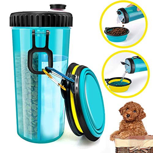 (iDogiCat Dog Water Bottle for Walking - 2 in 1 Portable Travel Dual Chambered Pets Drinking Cup Dispenser Mug and Food Container with 2 Collapsible Bowls)