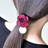 KAKA(TM) Women Girl Fashion Elegance Red Rose Pearl Decorate Stretchy Hair Rope Band Accessories offers