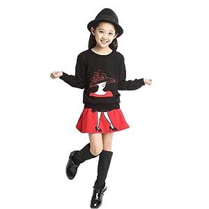 Kids Set,Leegor Baby Girl Long Sleeve Cartoon Print Tracksuit +Skirt Outfits (4T, black)