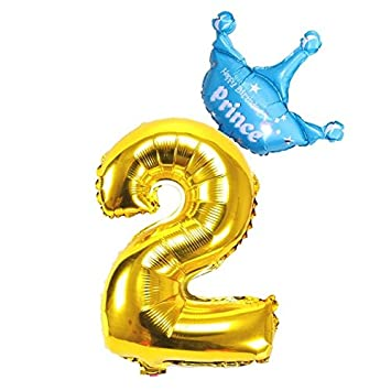 Yalulu 2pcs Boy Happy Birthday Foil Crown Balloons Set 1 9 Years Old