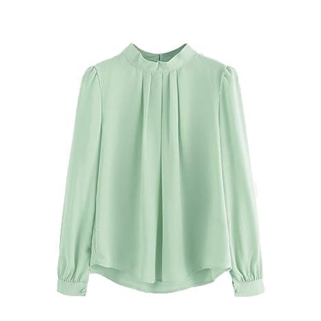 Verano mujeres camisa de manga larga floja ocasional de la gasa doblan del Tops blusa Shirt