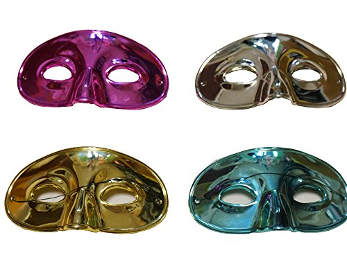 Plastic Metallic Half-Party Masks (include Elastic Bands on backs) 4 colors Sets-Purple, Gold, Blue, Silver