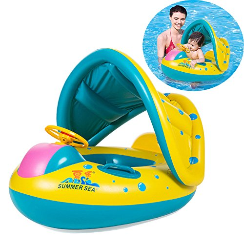 EncoyKid Baby Swimming Ring, Inflatable Baby Float Sunshade Swimming Boat Pool Seat with Sun Canopy for Kids Age 1-3 Years