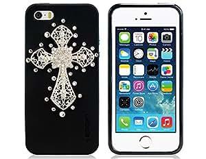 Preciosa modelo de Crystal Rhinestone adornó Cruz TPU caso de la cubierta para el iPhone 5/5S (Negro)