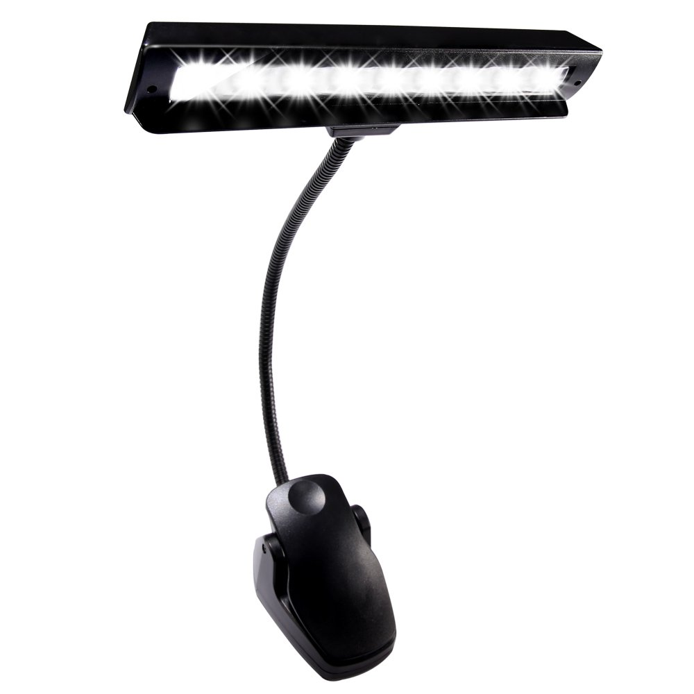 Hallomall 9 LED Clip On Music Stand Lights-3AA Batteries Included- Adjustable Cordless Portable Led Lamp for Mixing Orchestra Work Craft Table (Powered by AA Batteries, AC Adapter or USB Cable) DL-203